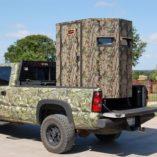 skid based movable deer blind in truck