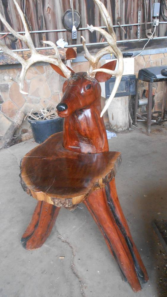 Mesquite deer head chainsaw carving north texas blinds